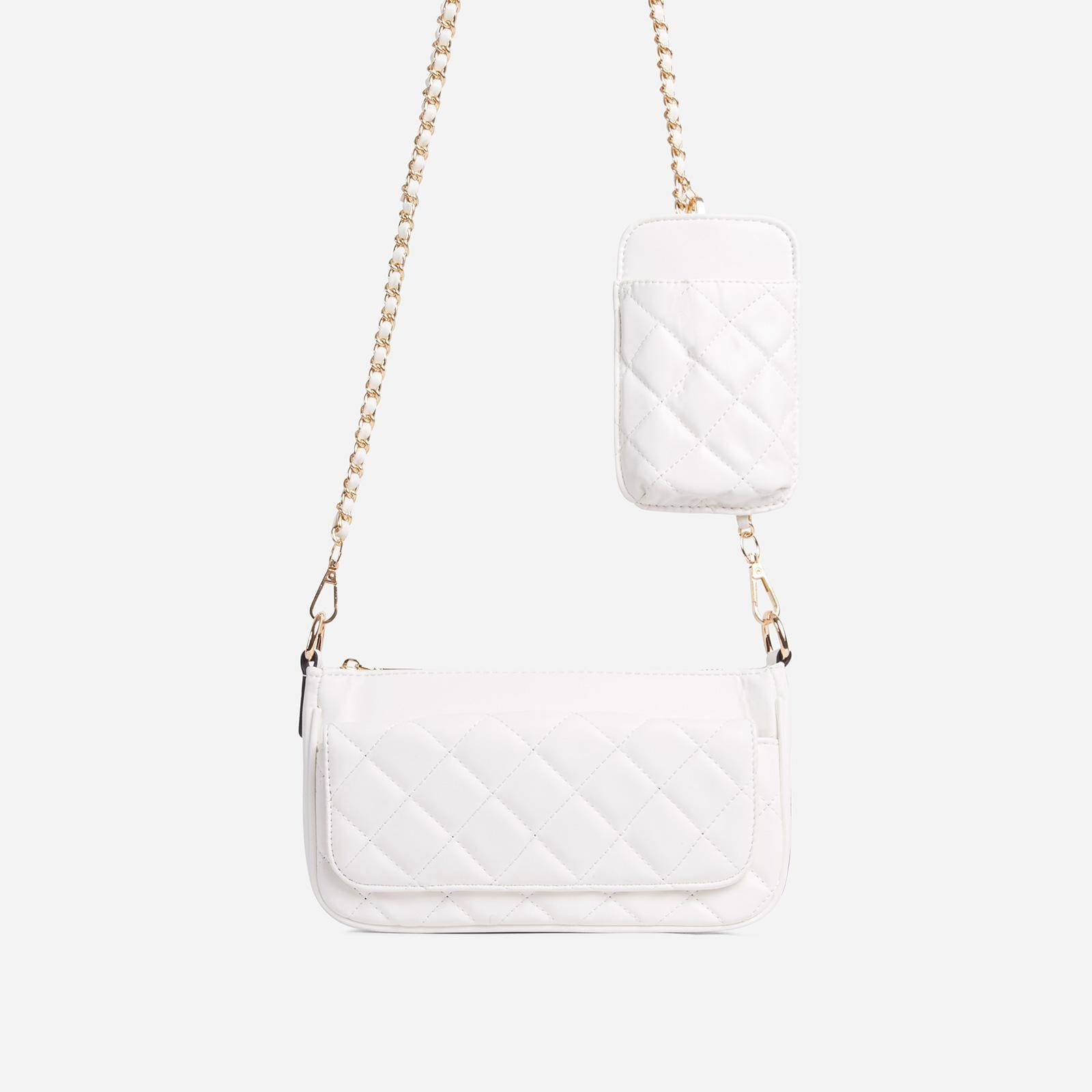 EGO Ryan Phone Pocket Pouch Quilted Cross Body Bag In White Faux Leather, White  - female - Size: One Size