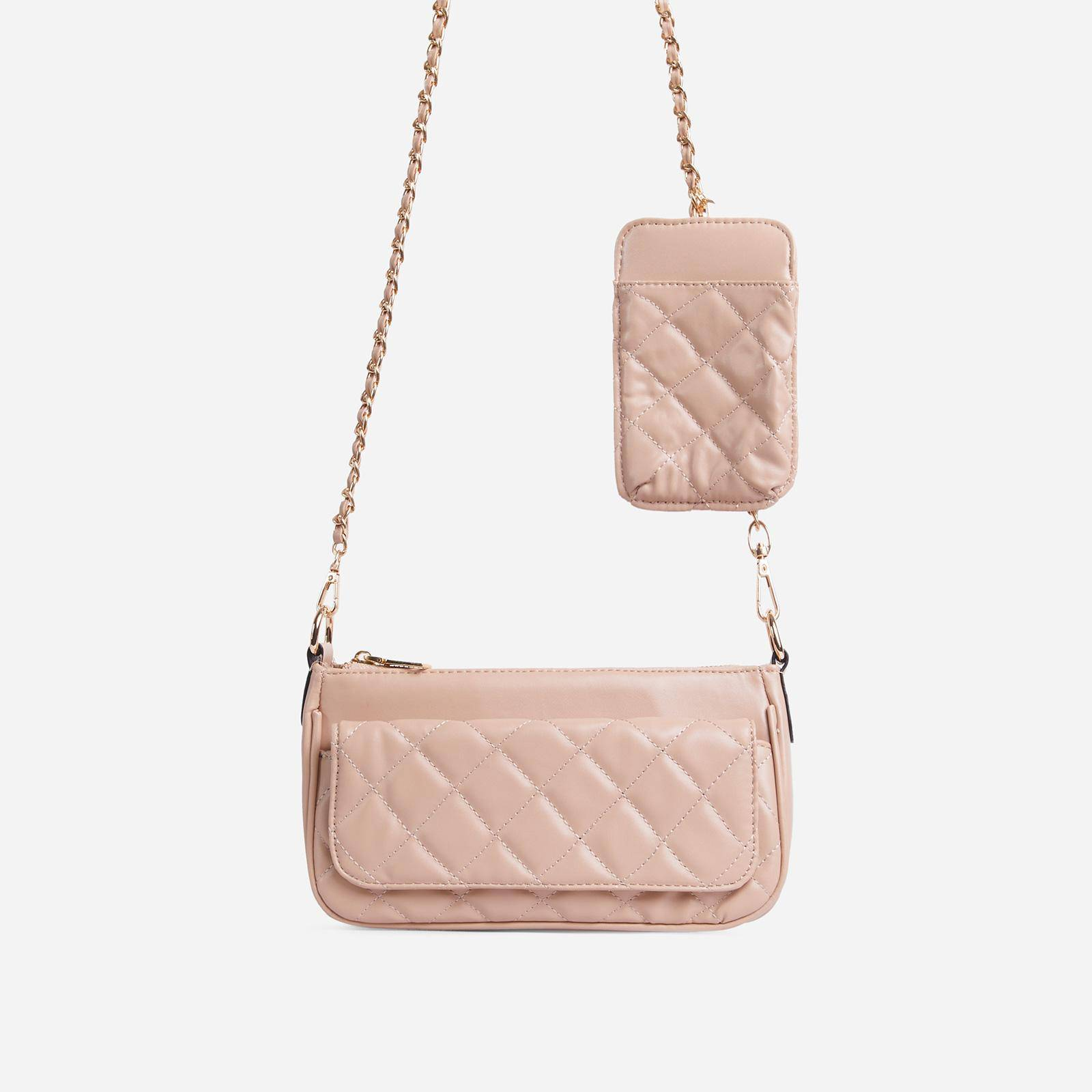 Ryan Phone Pocket Pouch Quilted Cross Body Bag In Nude Faux Leather, Nude  - female - Size: One Size
