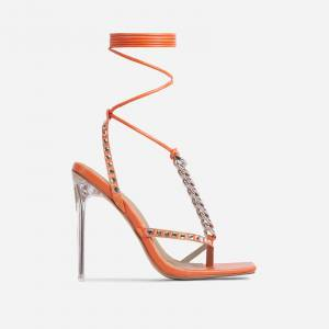 EGO High-Society Chain Studded Detail Square Toe Clear Perspex Heel In Orange Faux Leather, Orange  - female - Size: 9