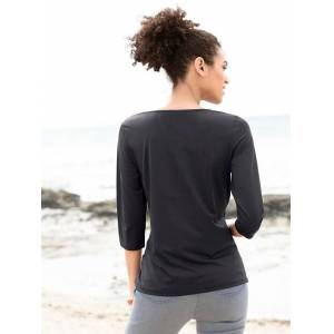 Mix Print 3/4 Length Sleeve Top  - Black/Multi - Size: 14