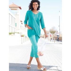 Printed Tie Hem Leggings  - Green/Multi - Size: 14