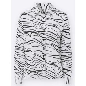 Zebra Print Blouse  - Blue - Size: 14
