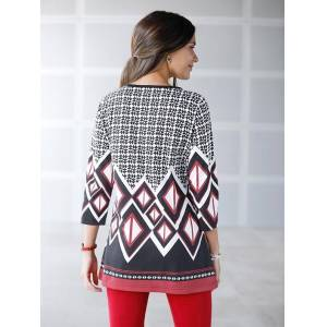 Geometric Print Tunic  - Black/Multi/Red - Size: 14