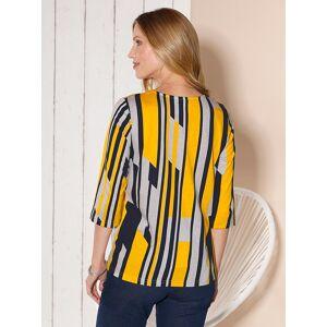 3/4 Sleeve Print Top  - Multi/Yellow - Size: 14