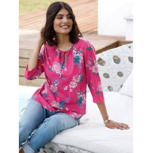 Floral 3/4 Sleeve Blouse  - Pink - Size: 14