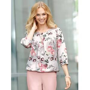 Floral Pleated Blouse  - Multi/Neutral/White - Size: 14