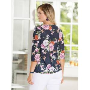 Floral 3/4 Sleeve Top  - Blue/Multi - Size: 14