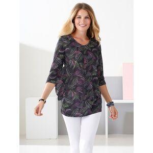 Tropical Print Tunic  - Black/Multi - Size: 14