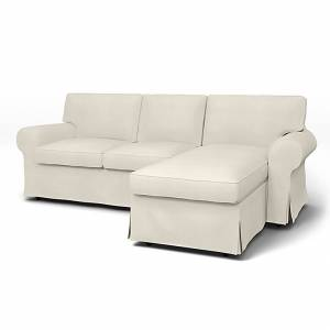 Bemz IKEA - Ektorp 3 Seater Sofa with Chaise Cover, Unbleached, Linen - Bemz