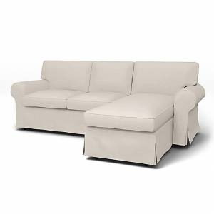 IKEA - Ektorp 3 Seater Sofa with Chaise Cover, Chalk, Linen - Bemz