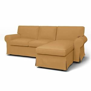 IKEA - Ektorp 3 Seater Sofa with Chaise Cover, Mustard, Linen - Bemz
