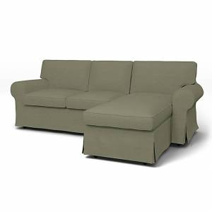 IKEA - Ektorp 3 Seater Sofa with Chaise Cover, Sage, Linen - Bemz