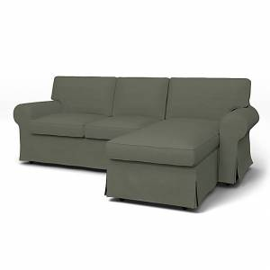 Bemz IKEA - Ektorp 3 Seater Sofa with Chaise Cover, Rosemary, Linen - Bemz