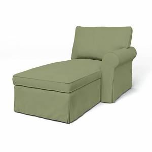 IKEA - Ektorp Chaise with Right Armrest Cover, Olive, Linen - Bemz