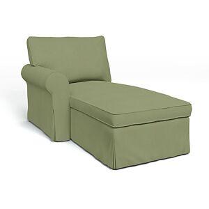 Bemz IKEA - Ektorp Chaise with Left Armrest Cover, Olive, Linen - Bemz