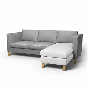 IKEA - Karlanda Chaise Longue Add-on Unit Cover, A Paler Shade of Grey, Cotton - Bemz