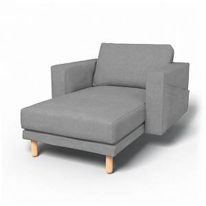Bemz IKEA - Norsborg Stand Alone Chaise with Arms Cover, Graphite, Linen - Bemz