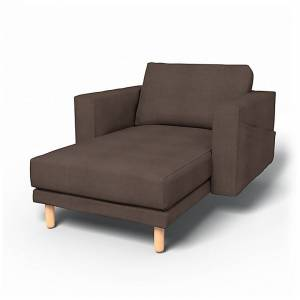Bemz IKEA - Norsborg Stand Alone Chaise with Arms Cover, Cocoa, Linen - Bemz