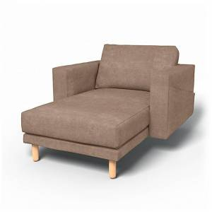 Bemz IKEA - Norsborg Stand Alone Chaise with Arms Cover, Pebble, Velvet - Bemz