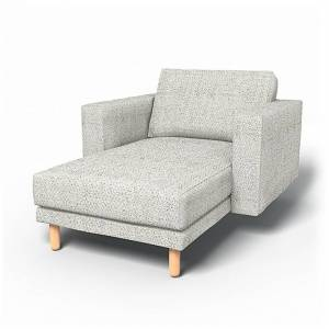 Bemz IKEA - Norsborg Stand Alone Chaise with Arms Cover, Ivory, Wool-look - Bemz