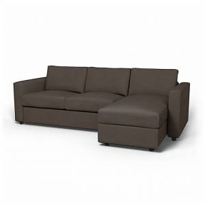 Bemz IKEA - Vimle 2 Seater Sofa with Chaise Cover, Taupe, Velvet - Bemz