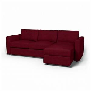 Bemz IKEA - Vimle 2 Seater Sofa with Chaise Cover, Classic Burgundy, Velvet - Bemz