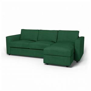 IKEA - Vimle 2 Seater Sofa with Chaise Cover, Ivy Green, Velvet - Bemz