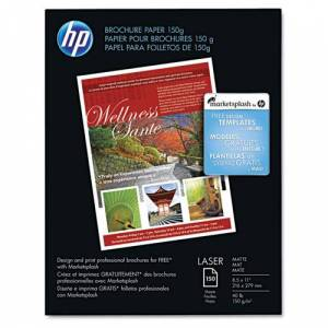 HEWLETT-PACKARD Q6543A Color Laser Brochure Paper, 98 Brightness, 40lb, 8-1/2 x 11, White, 150 Shts/Pk