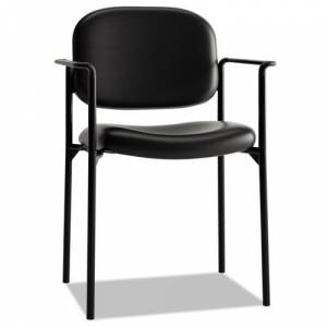 BASYX HVL616.SB11 VL616 Stacking Guest Chair with Arms, Black Leather
