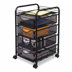 SAFCO 5214BL Onyx Mesh Mobile File w/Four Supply Drawers, 15-3/4w x 17d x 27h, Black