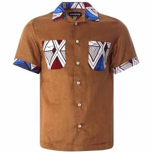 Monitaly Vacation Shirt Lt. Linen Brown x African Batic   Brown   M29202-BRN