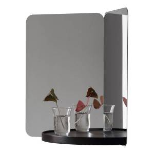Artek 124 degrees mirror, medium, black shelf