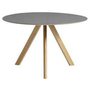 HAY CPH20 round table 120 cm, lacquered oak - grey lino