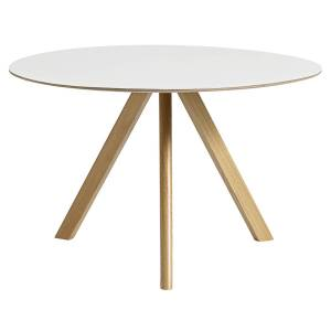 HAY CPH20 round table 120 cm, lacquered oak - white laminate