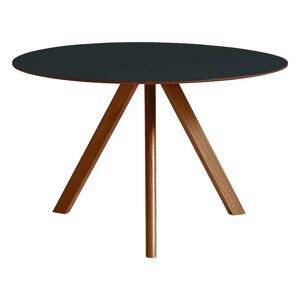 HAY CPH20 round table 120 cm, lacquered walnut - dark grey lino