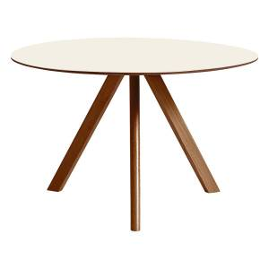 HAY CPH20 round table 120 cm, lacquered walnut - off white lino