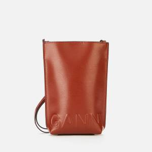 Ganni Women's Recycled Leather Small Cross Body Bag - Madder Brown