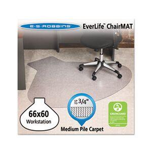EverLife Chair Mats For Medium Pile Carpet, Contour,  66 x 60, Clear