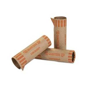 Coin-Tainer Preformed Tubular Coin Wrappers, Quarters, $10, 1000 Wrappers/Box