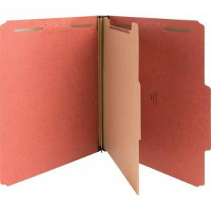 Nature Saver Classification Folders, Letter Size, 4 Section, 1 Divider, Top Tab, Red Pressboard, Recycled, 10/Box