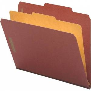 Nature Saver Classification Folders, Legal Size, 4 Section, 1 Divider, Top Tab, Red Pressboard, Recycled, 10/Box