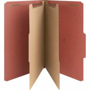 Nature Saver Classification Folders, Legal Size, 6 Section, 2 Dividers, Top Tab, Red Pressboard, Recycled, 10/Box