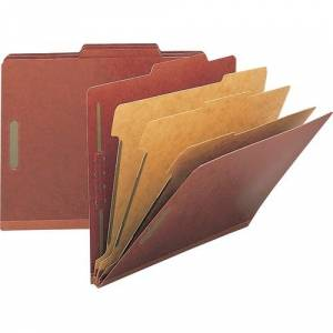 Nature Saver Classification Folders, Legal Size, 8 Section, 3 Dividers, Top Tab, Red Pressboard, Recycled, 10/Box