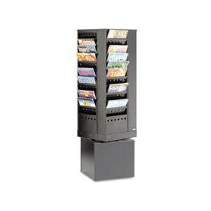 Steel Rotary Magazine Rack, 44 Compartments, 14w x 14d x 48h, Black