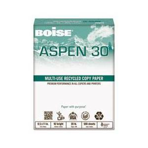 ASPEN 30% Recycled Multi-Use Paper, 92 Bright, 20lb, 11 x 17, White, 2500/CT