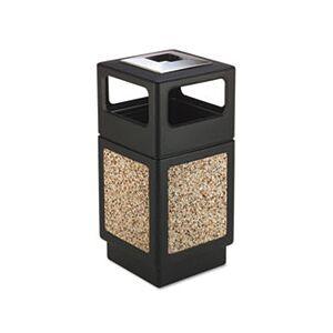 Canmeleon Ash/Trash Receptacle, Square, Aggregate/Polyethylene, 38gal, Black