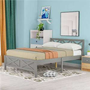 Geekbuying Queen Size Wooden Platform Bed Frame with High Legs and Wooden Slats - Gray