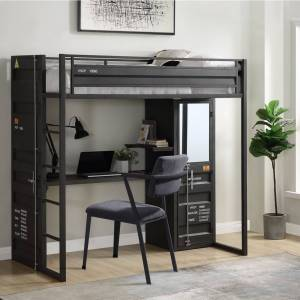 Geekbuying ACME Twin Size Metal Loft Bed Frame with Storage Cabinet and Desk, Space-saving Design, No Need for Spring Box - Black
