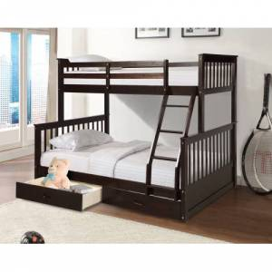 Geekbuying Twin-Over-Full Size Bunk Bed Frame with Ladder, and Wooden Slats Support, No Spring Box Required (Frame Only) - Espresso