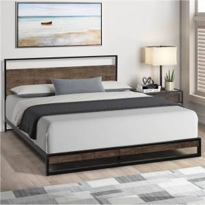Geekbuying Queen-Size Metal Platform Bed Frame with Headboard and Wooden Slats Support, No Box Spring Needed (Only Frame) - Espresso